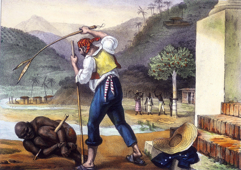 Feitors corrigeant des nègres, lithographie coloriée, d'après Jean-Baptiste Debret, Voyage pittoresque et historique au Brésil, 1834 - 39.
