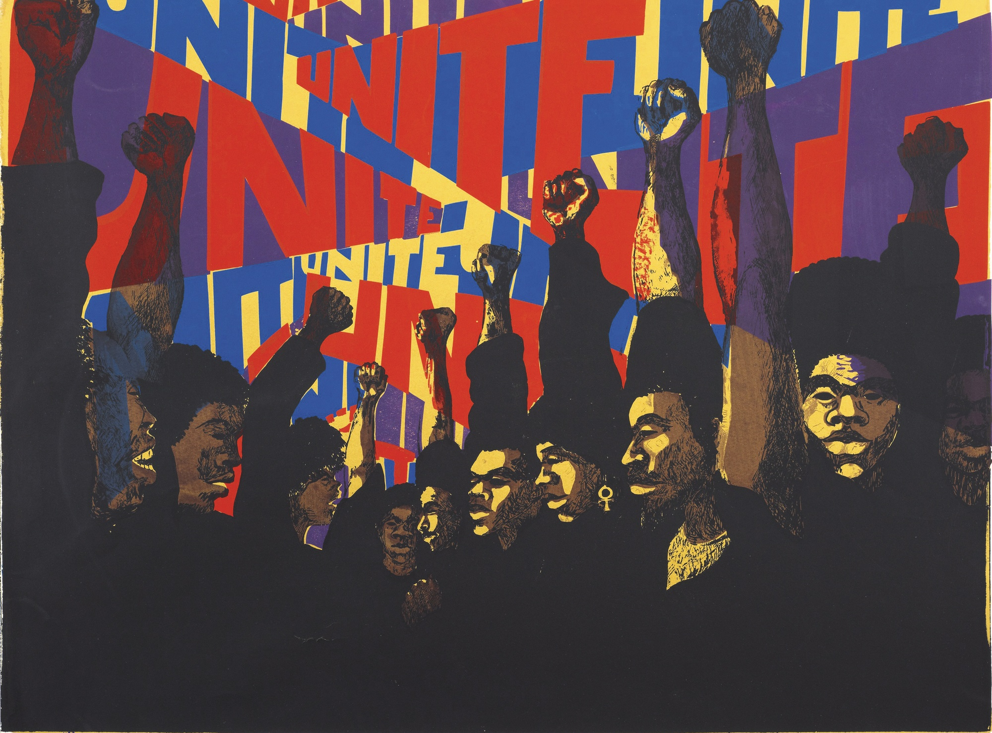 Barbara Jones-Hogu, Unite (AfriCOBRA), 1971, lithographie, The Art Institute of Chicago, États-Unis.