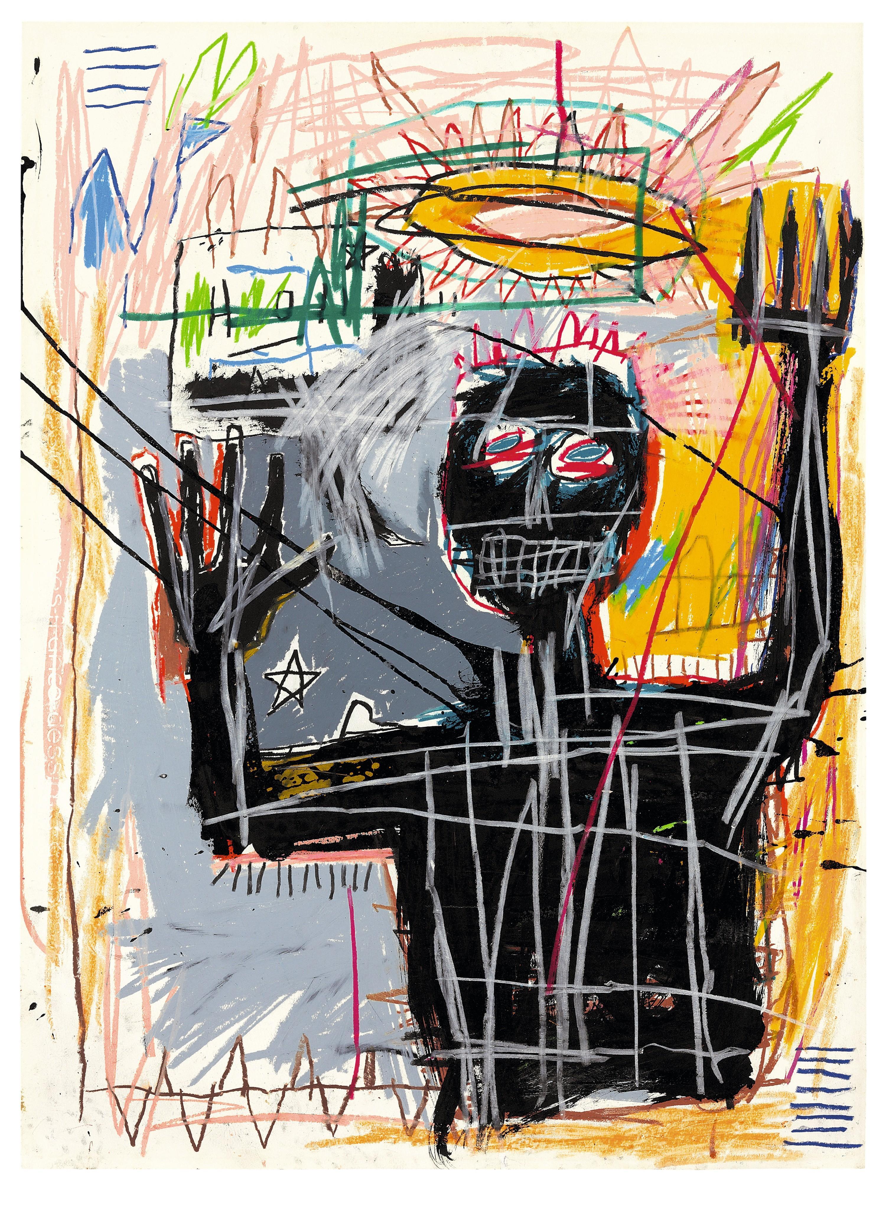 Jean-Michel Basquiat, Furious Man, 1982, bâton à l'huile, acrylique, crayon gras et encre sur papier, 76 × 56 cm, collection privée.