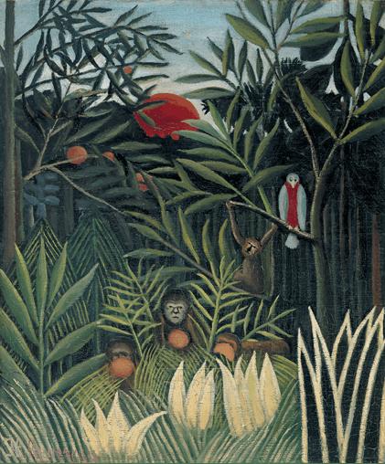 Henri Rousseau, dit le Douanier Rousseau, Singes et perroquet dans la forêt vierge, 1905-1906, huile sur toile, 56 × 47 cm, Philadelphie, États-Unis.