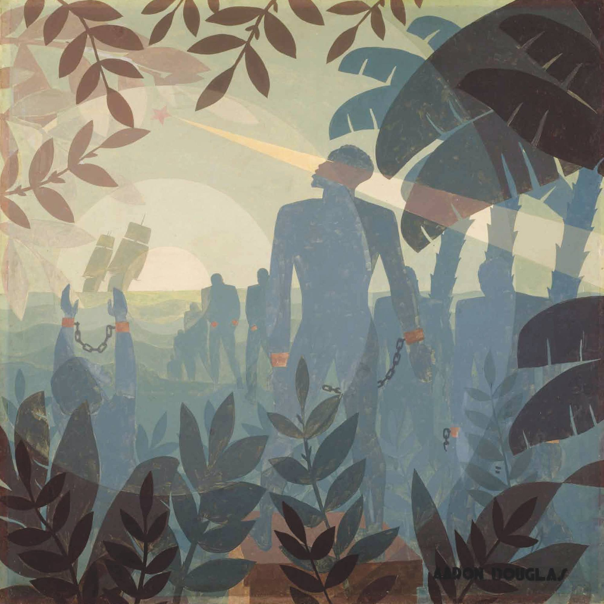 Aaron Douglas, Into bondage, 1936, huile sur toile, 153 × 154 cm, National Gallery of Art, Washington, États-Unis.