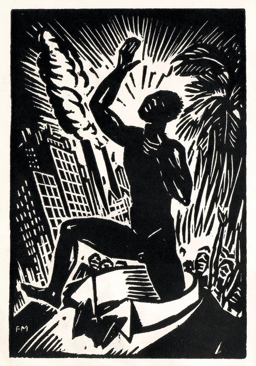 Frans Masereel, frontispice de Pigments de Léon-Gontran Damas, 1937, gravure sur bois, 11,2 × 7,5 cm, Éditions GLM.