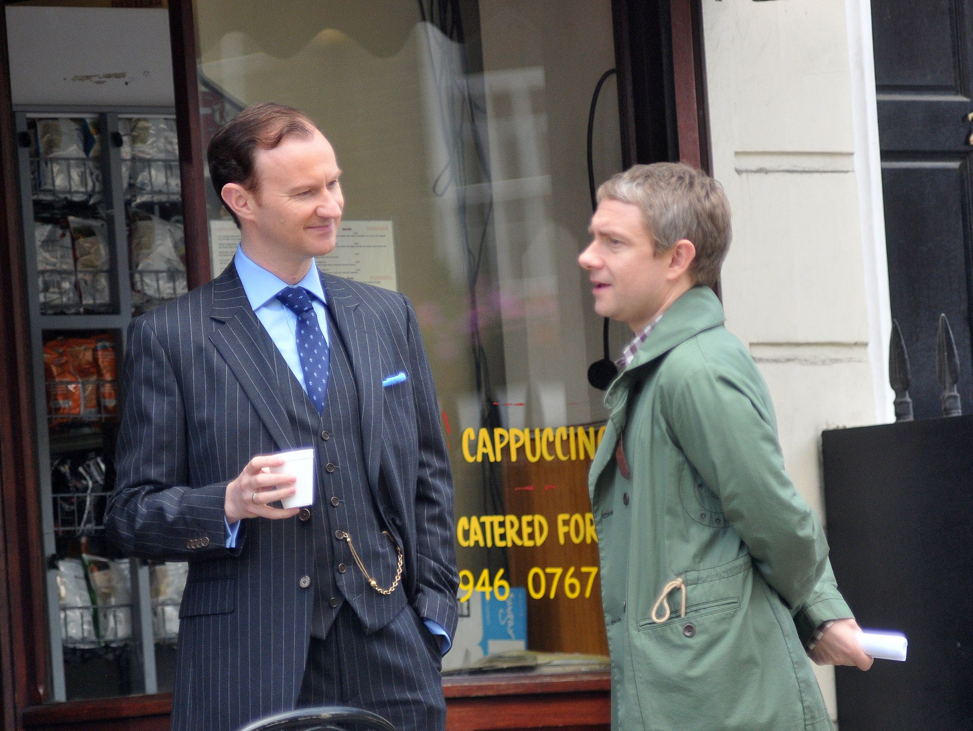 Martin Freeman and Mark Gatiss filming for  the Sherlock HolmesTV series in London, 2011.