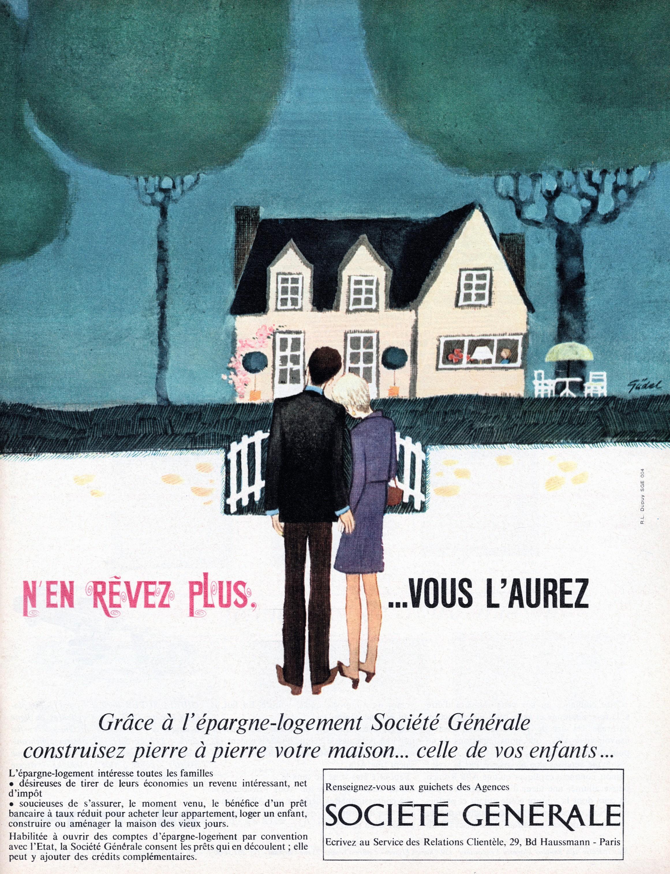 Affiche publicitaire de 1960 pour la Société Générale