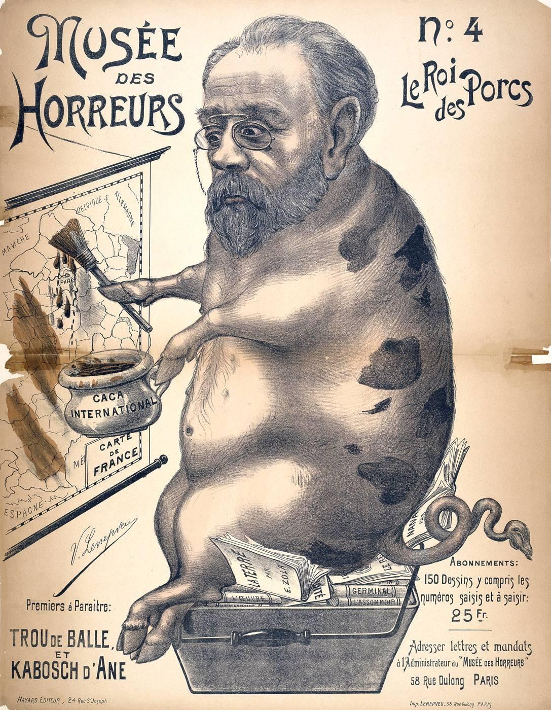Victor Lenepveu, « Zola, le roi des porcs », Le Musée des horreurs, 1899.
