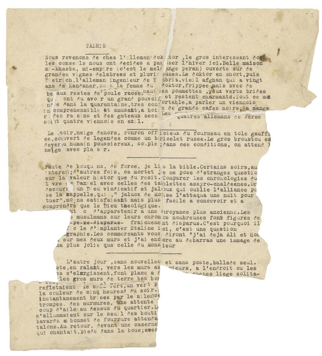 Fragment du texte de Nicolas Bouvier