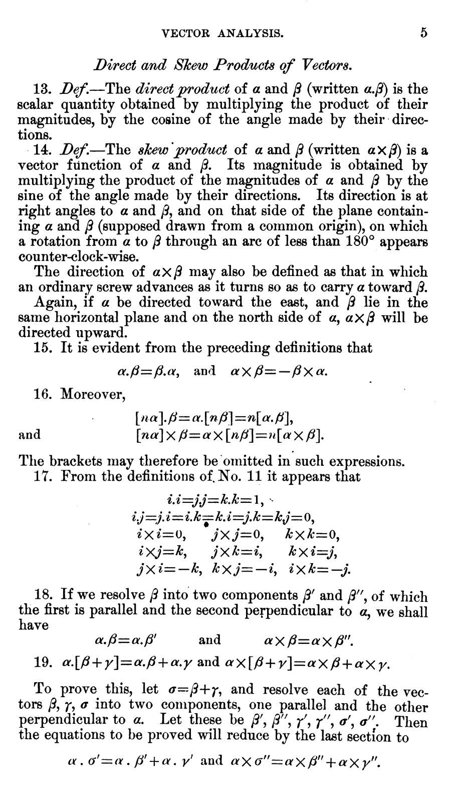Extrait de Elements of Vector Analysis Arranged for the Use of Students in Physics