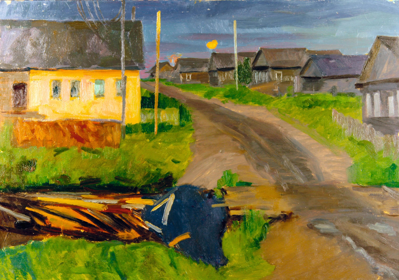 Konstantin Gneushev, Rue d'un village, de nuit, Carélie
