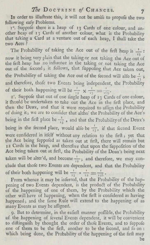 Extrait du livre de Moivre, The Doctrine of Chances<, 1718