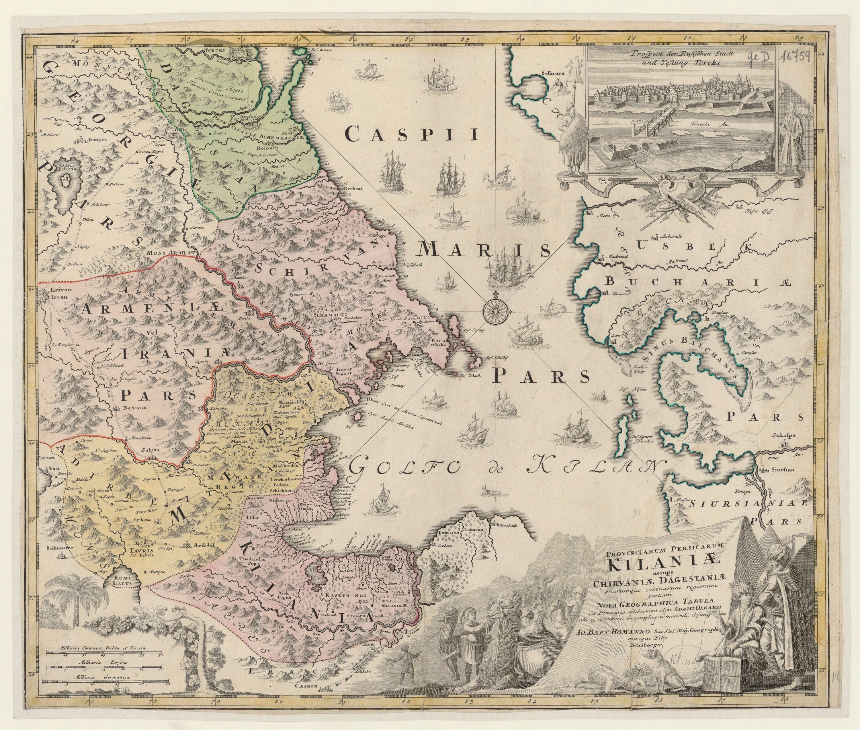 Johann Baptist Homann carte de la mer Caspienne, du Caucase et du Turkménistan