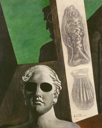 3 Giorgio de Chirico, Portrait [prémonitoire] de Guillaume Apollinaire, 1914, fusain, huile sur toile, 81,5 × 65 cm, Centre Pompidou, Paris.