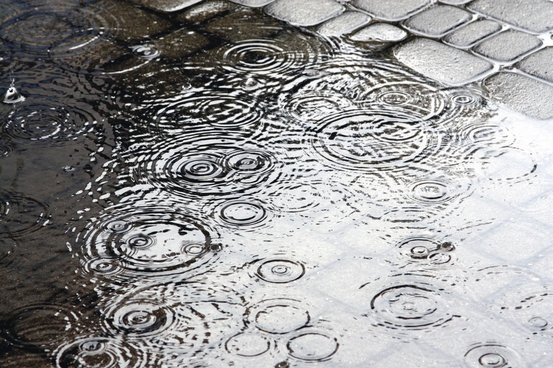 Gouttes de pluie tombant sur une flaque