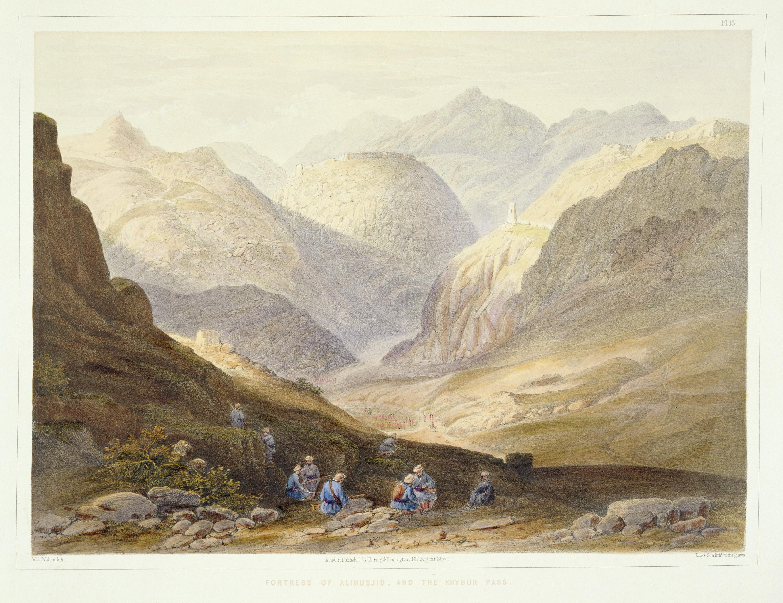D'après James Rattray, Forteresse d'Alimusjid et la passe du Khyber, lithographie extraite de la série « Scènes, habitants et costumes d'Afghanistan », gravée par W.L. Walton, 1848