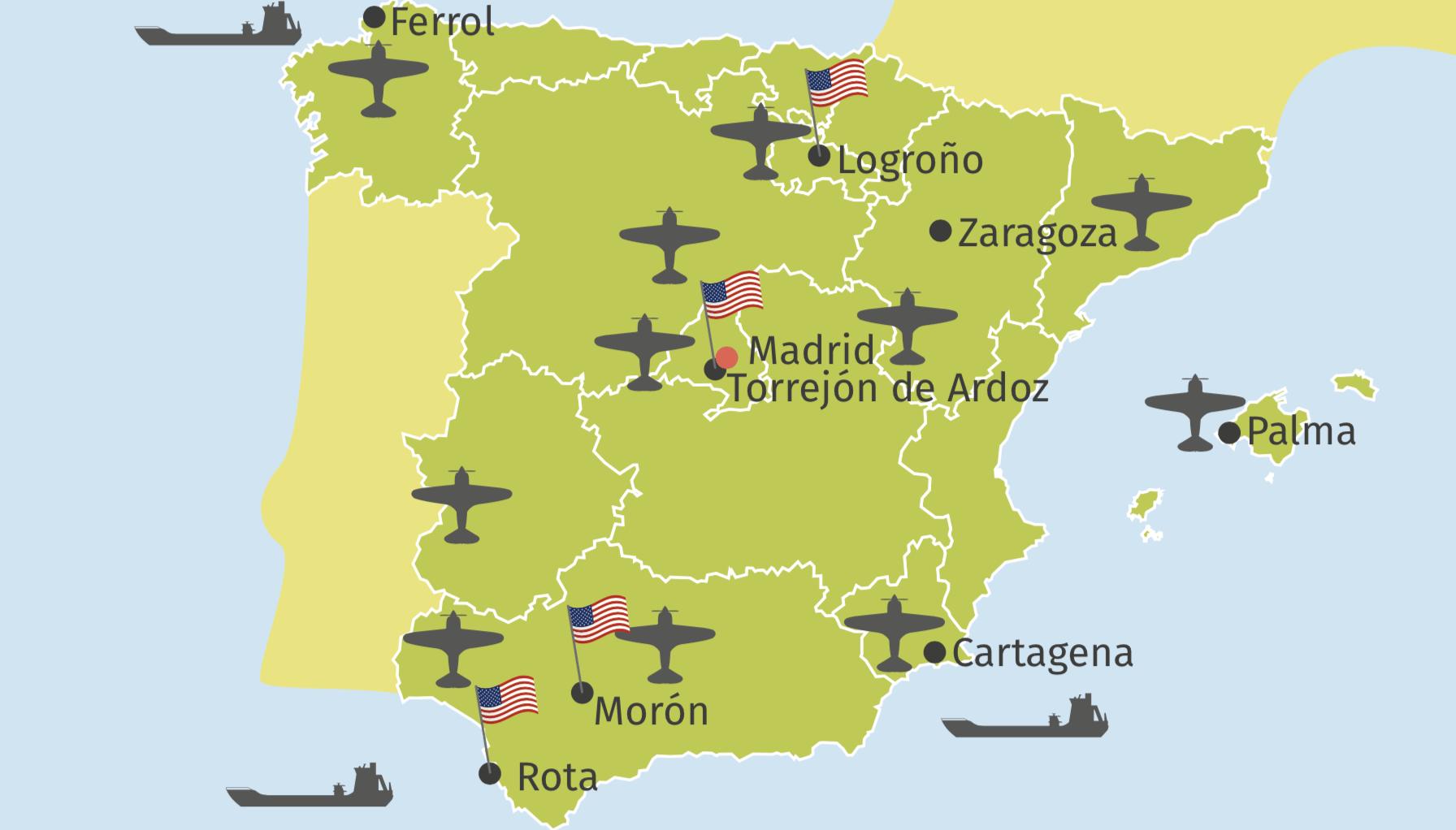 Mapa bases americanas
