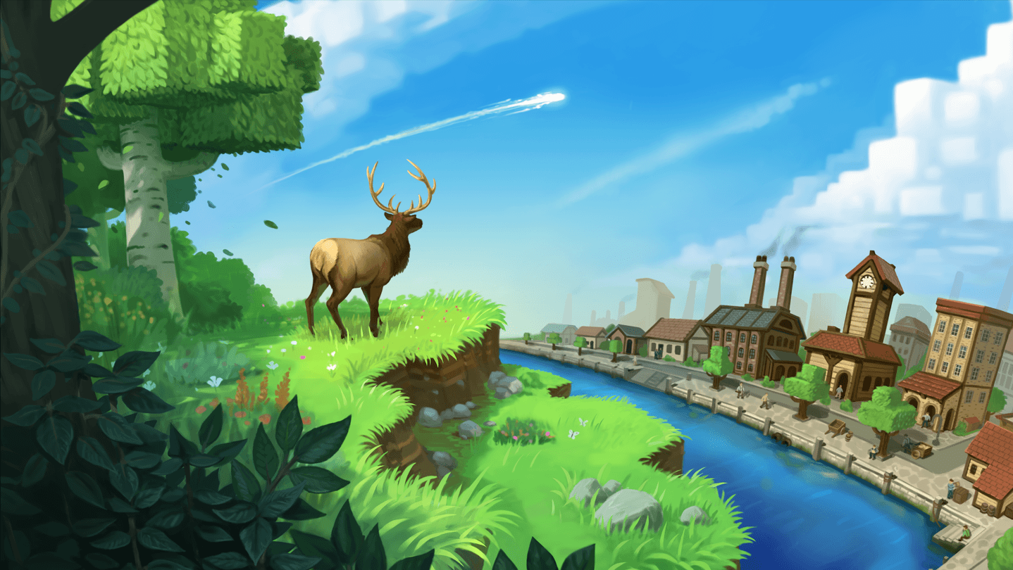 Promotional picture for 'Eco' game, Steam.com, 2018.