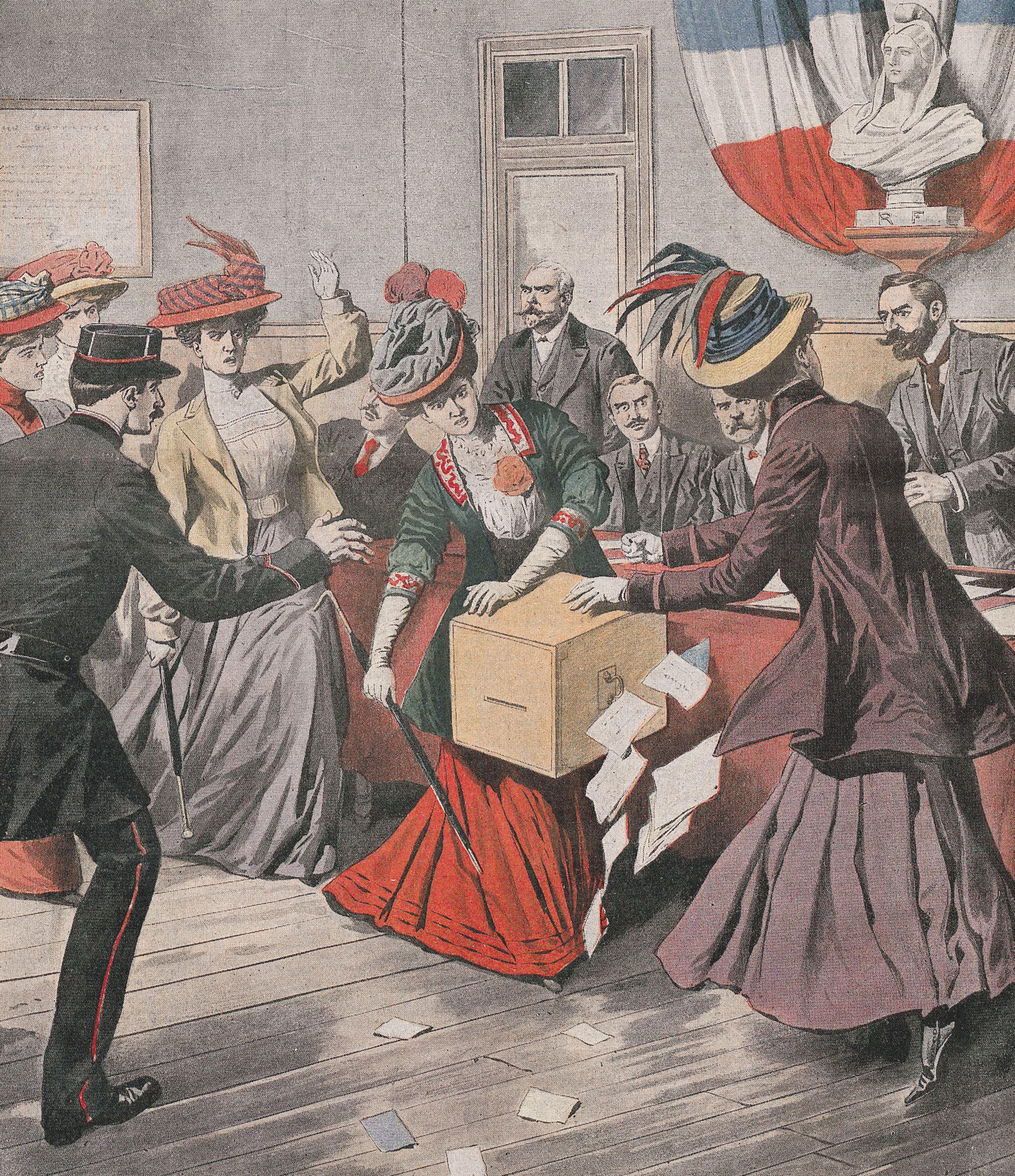 Les suffragettes envahissent une section de vote, Petit Journal,