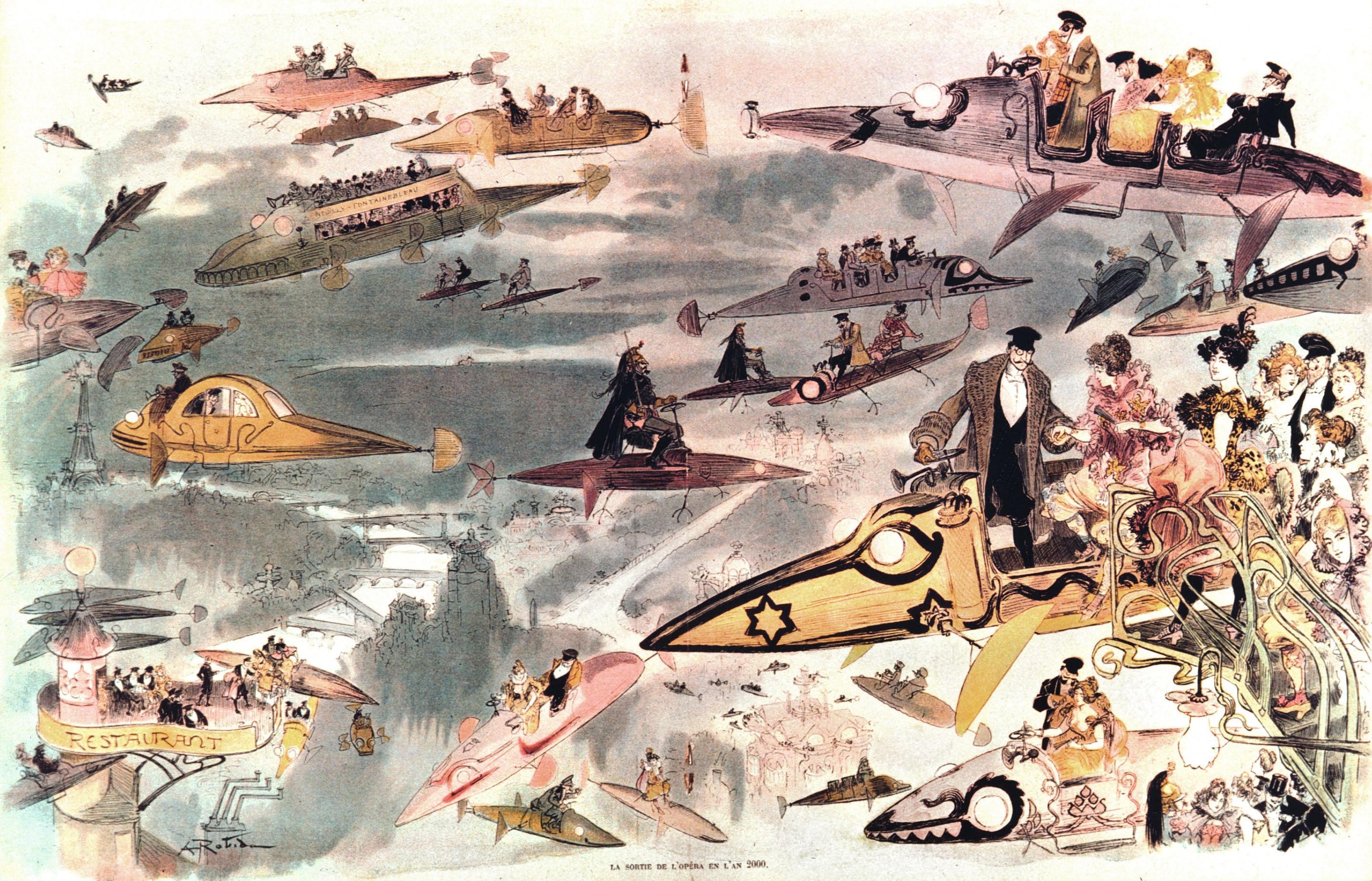 Albert Robida, Sortie de l'opéra en 2000, 1902, lithographie en couleur, BnF, Paris.