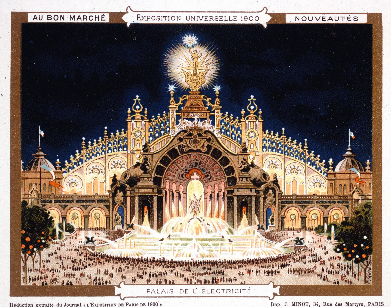 Anonyme, Le Palais de l'électricité, 1900, lithographie en couleur, collection privée.