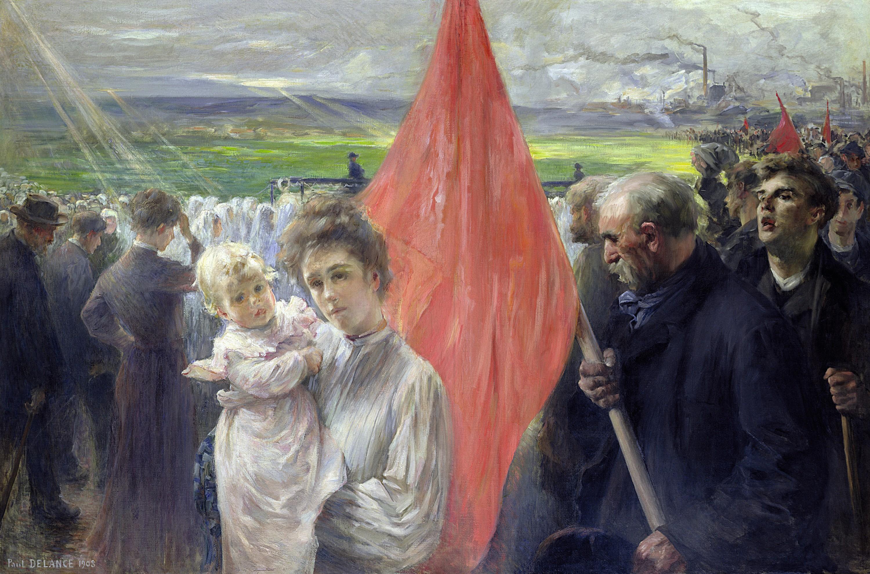 Paul-Louis Delance, Grève à Saint‑Ouen, 1908, huile sur toile, 127 x 191 cm, musée d'Orsay, Paris.