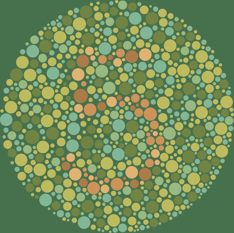 Exemple de test (d'Ishihara) pour déceler les formes de daltonisme