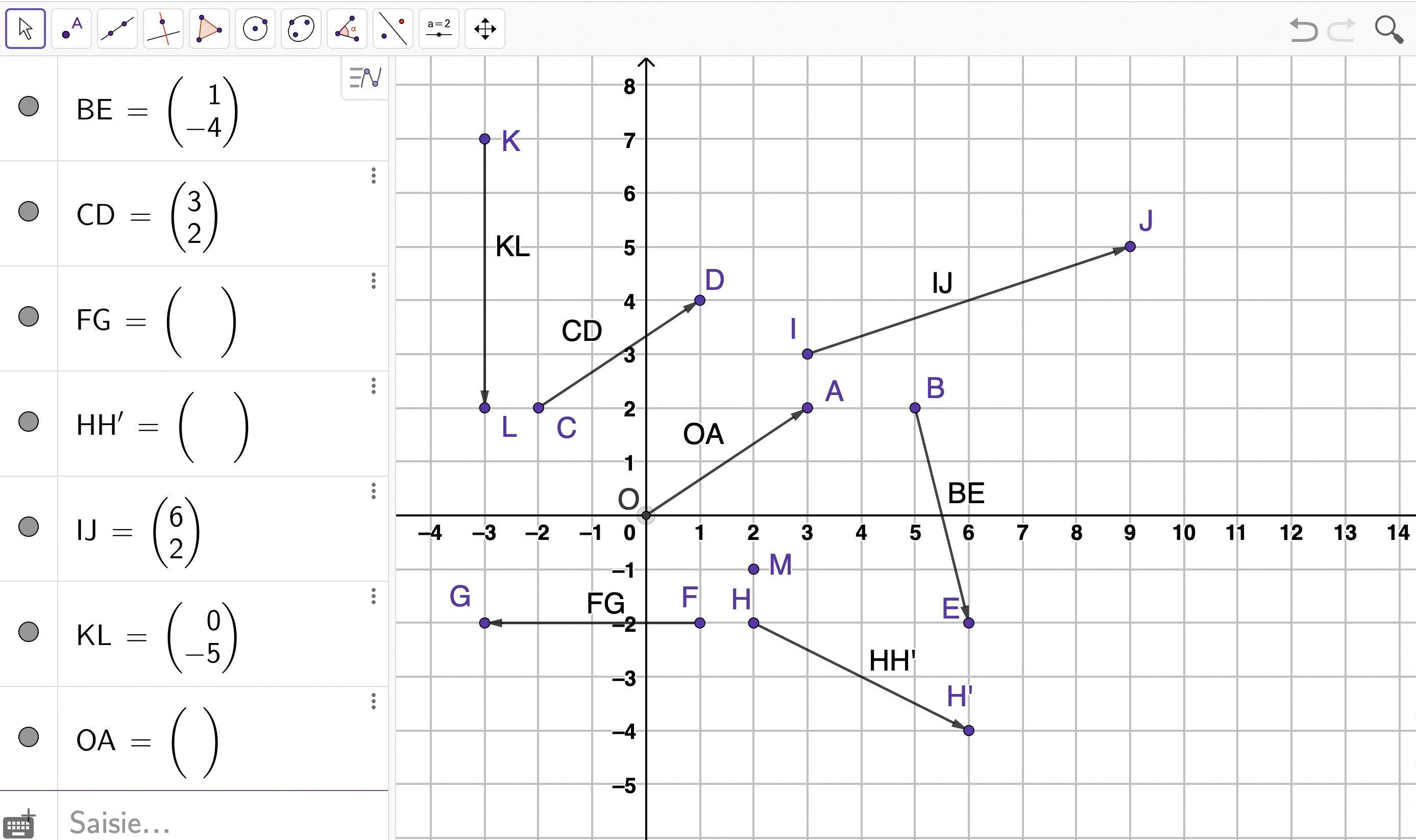 Formules et coordonnées de vecteurs