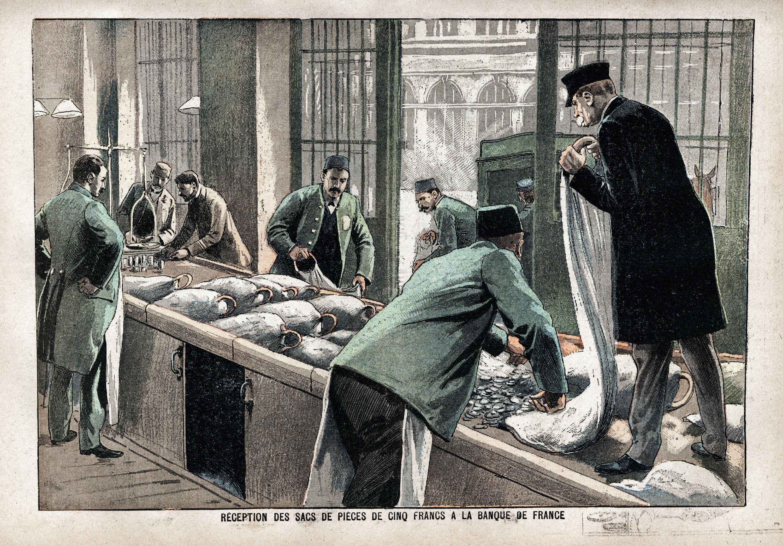 La réception des sacs de pièces de 5 francs à la Banque de France, 1900.