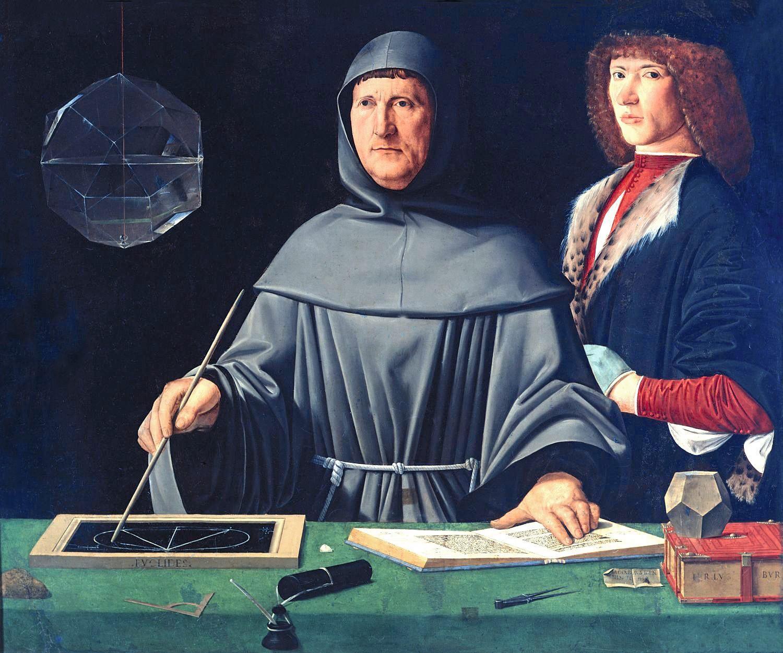 Portrait de Luca Pacioli, attribué à Jacopo de Barbari, vers 1500.