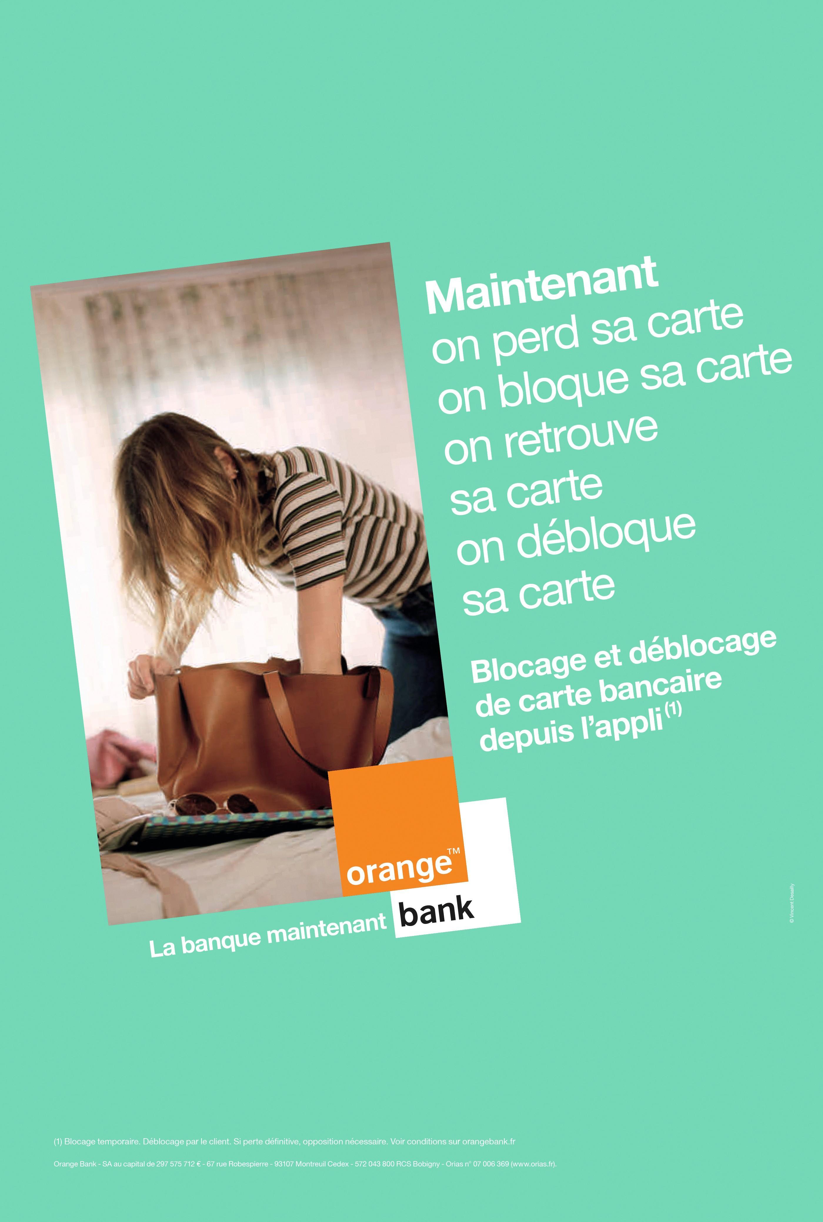 Publicité pour Orange Bank, système de paiement par mobile géré par un opérateur téléphonique.