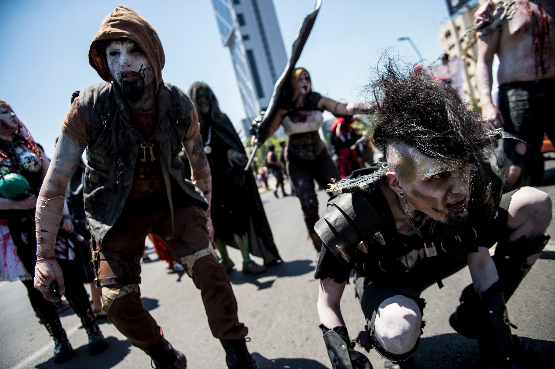 Marcha zombi en Santiago de Chile.