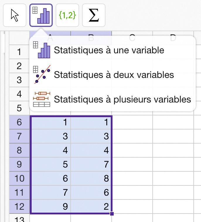 Analyser une série statistique présentée sous forme de tableau - GeoGebra - Méthode 2