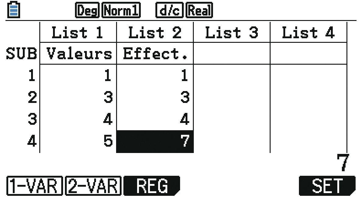 Analyser une série statistique présentée sous forme de tableau - Calculatrice - Méthode 1