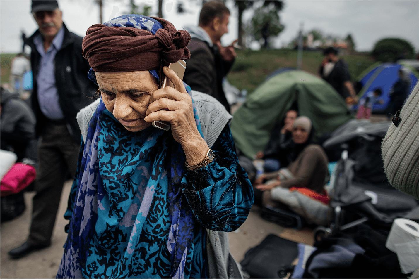 Migrants à la frontière entre la Serbie et la Croatie, en 2015