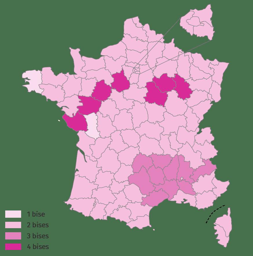 La carte indique le vote majoritaire pour chaque département sur le nombre de bises données pour se saluer