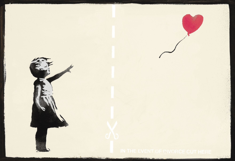 Banksy, En cas de divorce, coupez ici, 2010.