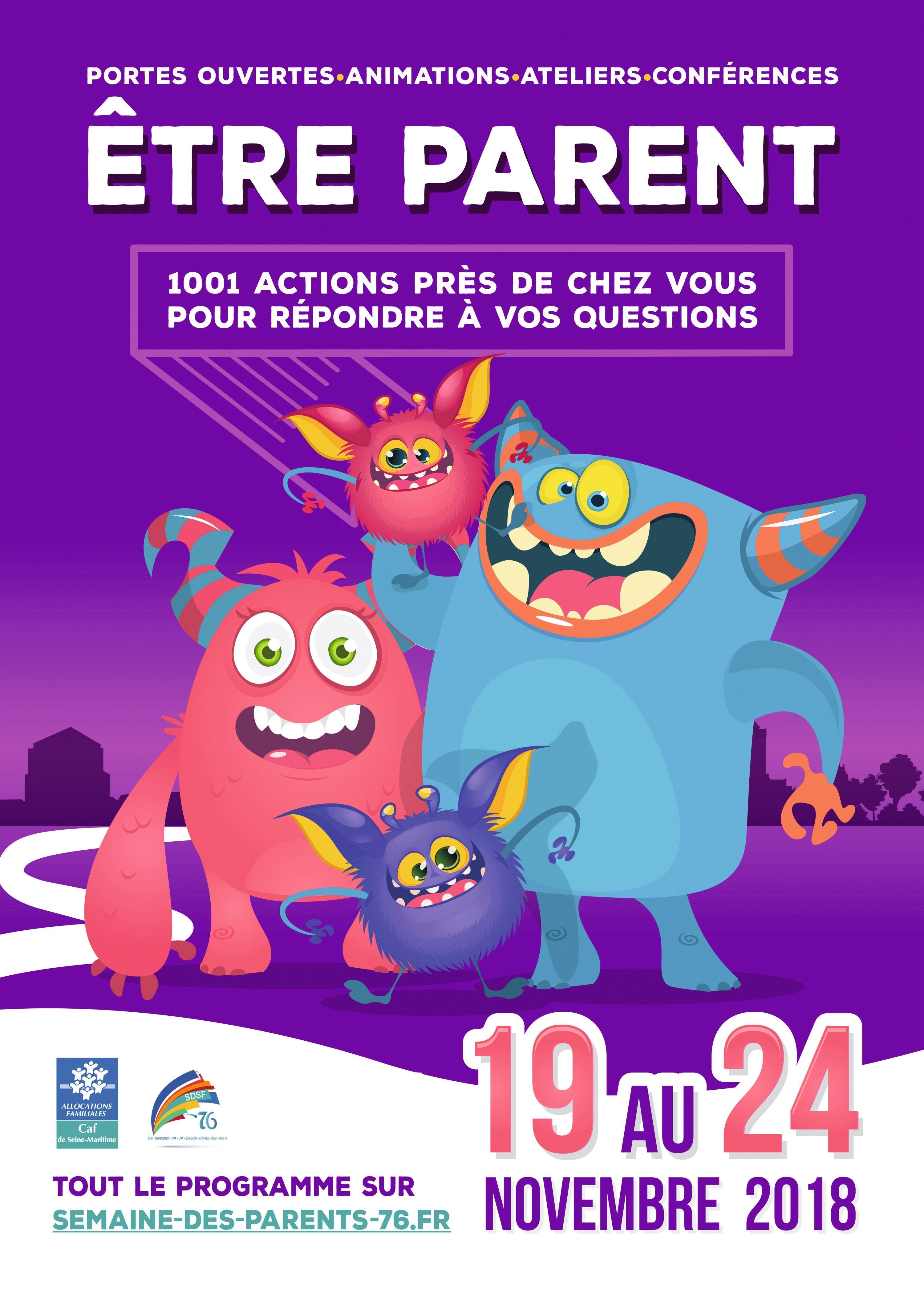 Affiche pour un forum organisé par la CAF de Seine-Maritime à destination des jeunes parents.
