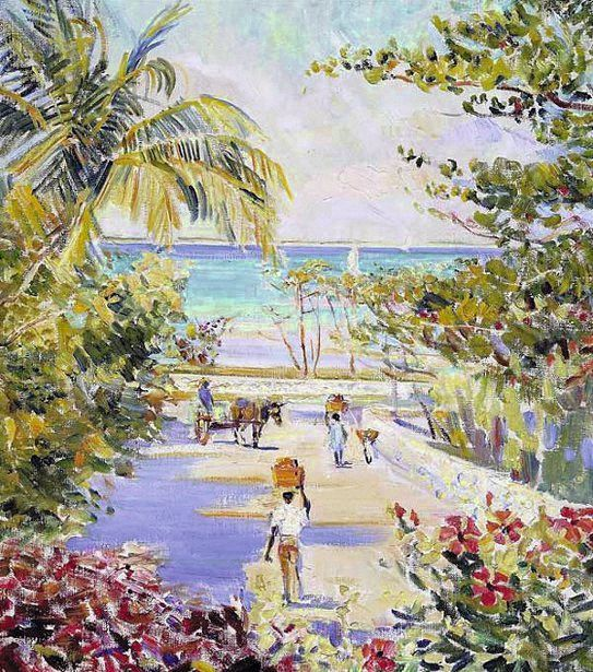 Caribbean Scene, Road to Market, Helena Sturtevant.