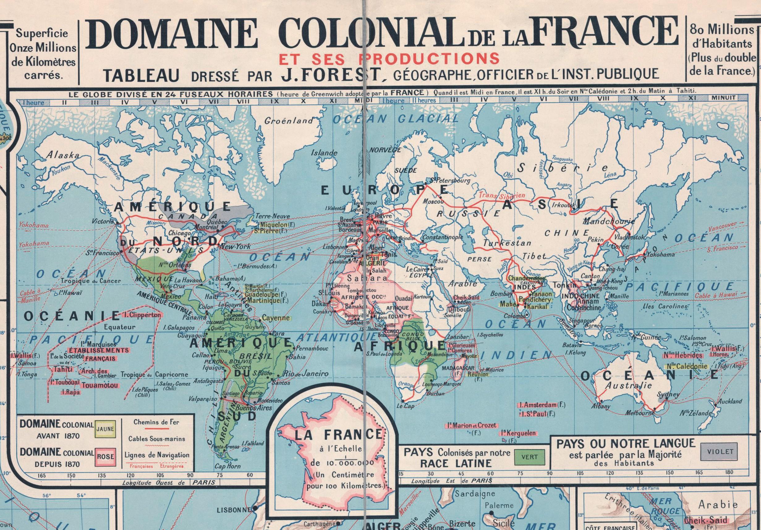 domaine colonial, Carte murale destinée aux écoles de la métropole