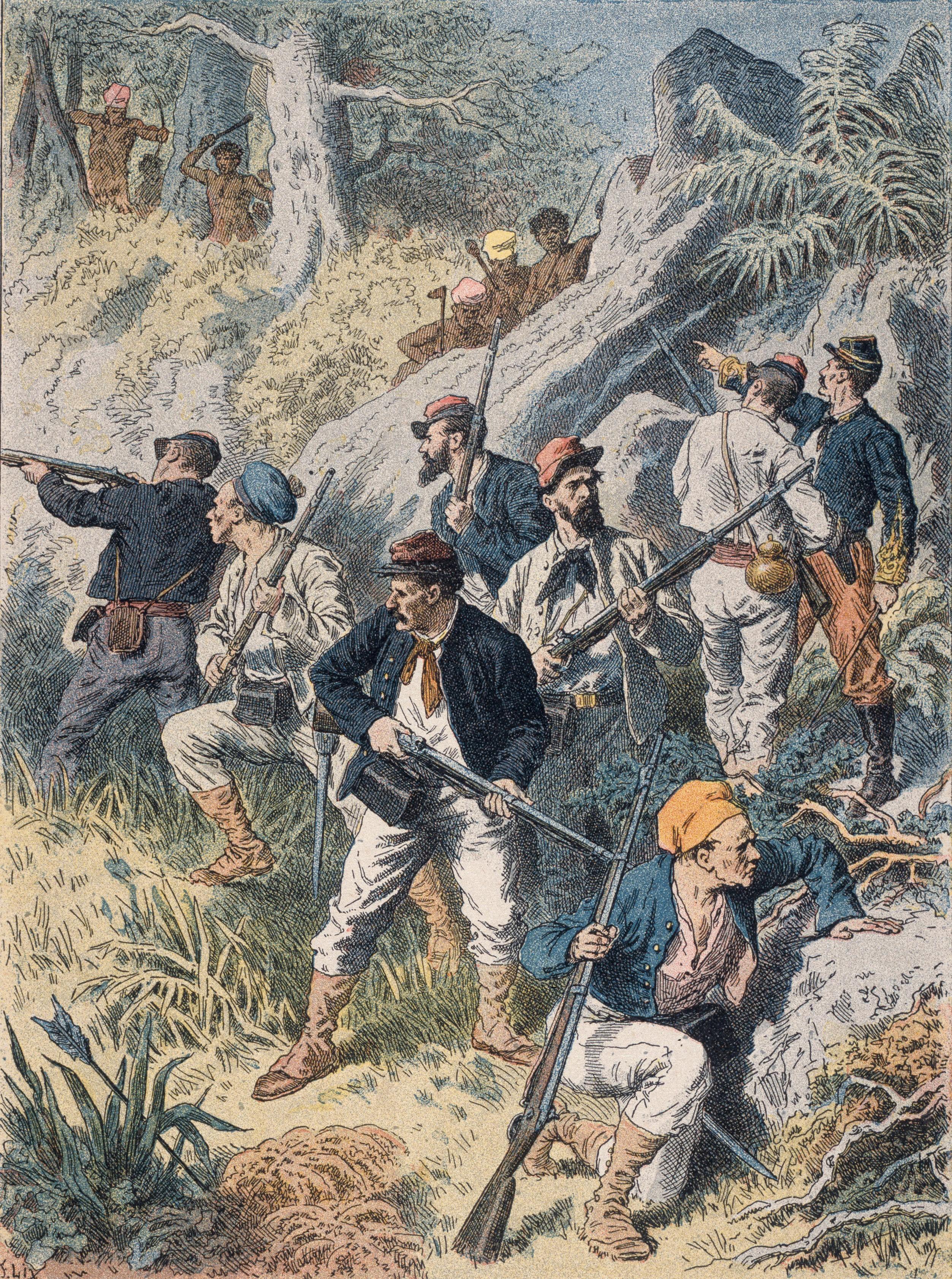 Les Kanaks en Nouvelle-Calédonie, couverture d'un cahier d'écolier, v. 1890