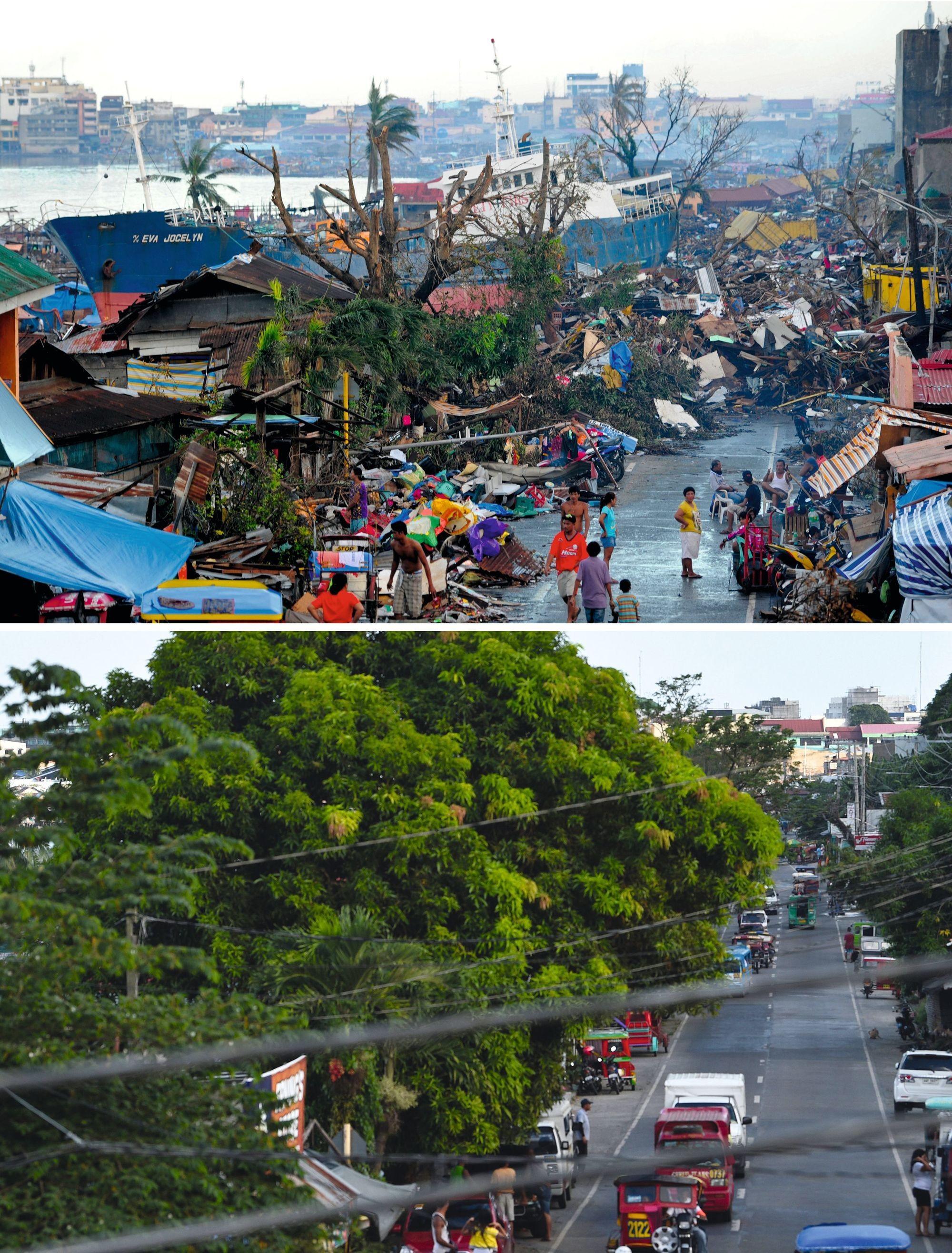 Une rue de Tacloban (Philippines) avant et après le passage du typhon Hainan (novembre 2013)
