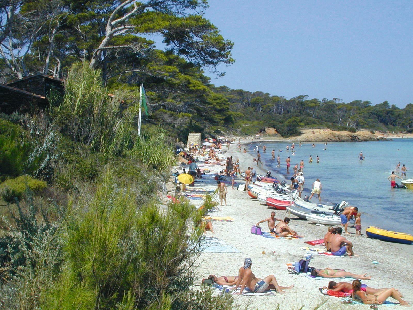 La plage d'Argent l'été à Porquerolles