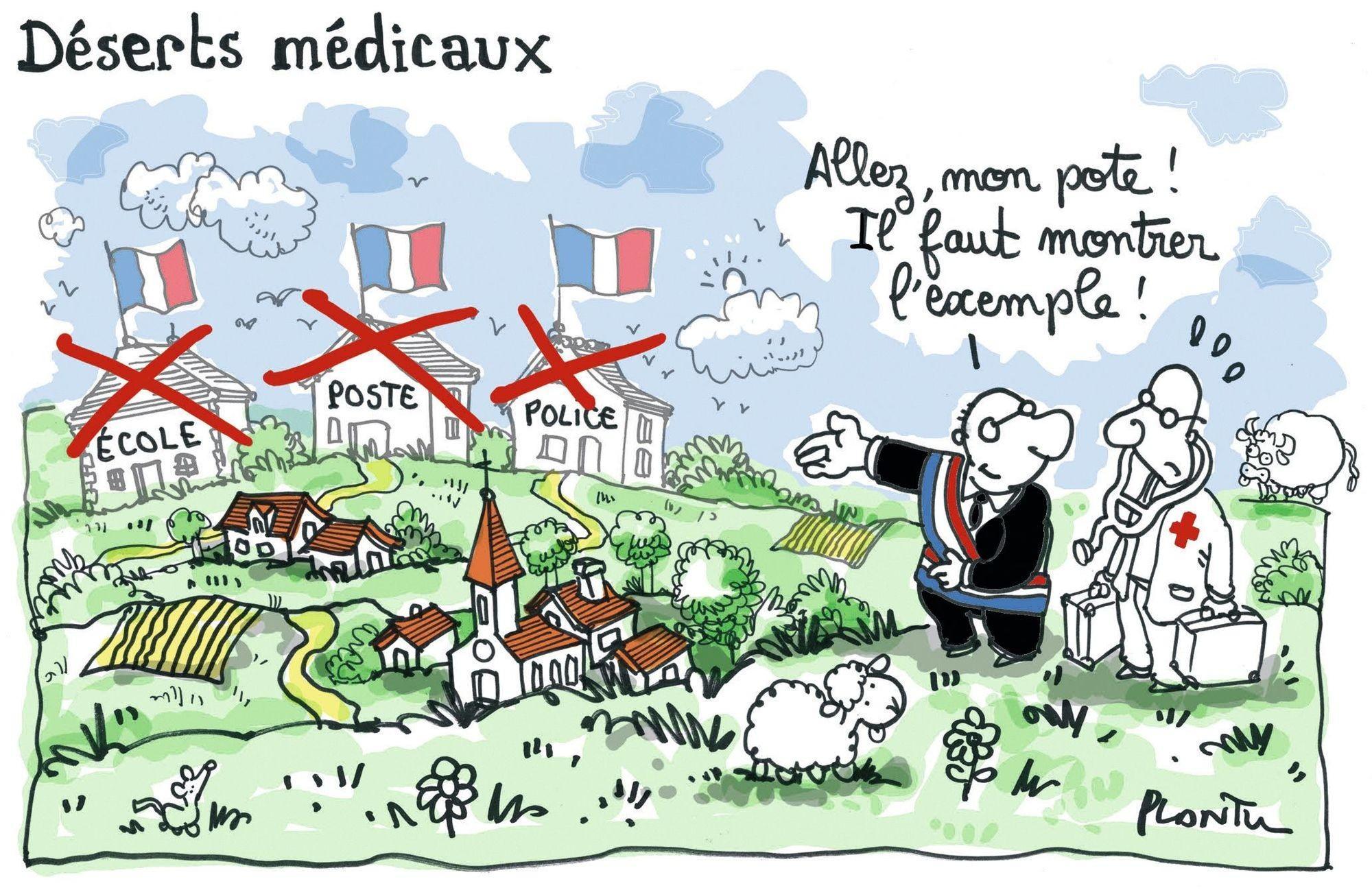 Les déserts médicaux en France - Plantu, Le Monde, 2013