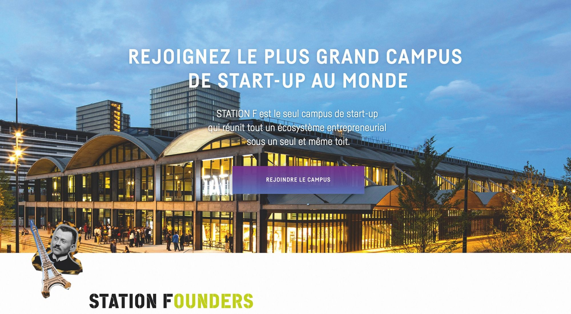 Page d'accueil du site internet de Station F, le plus grand incubateur de France