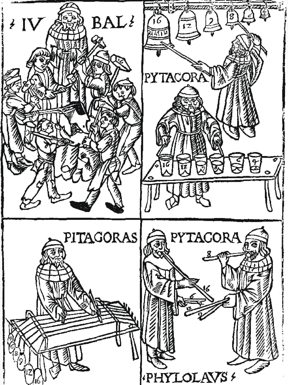 Pythagore à la recherche de l'harmonie (F. Gaffurio, 1492).