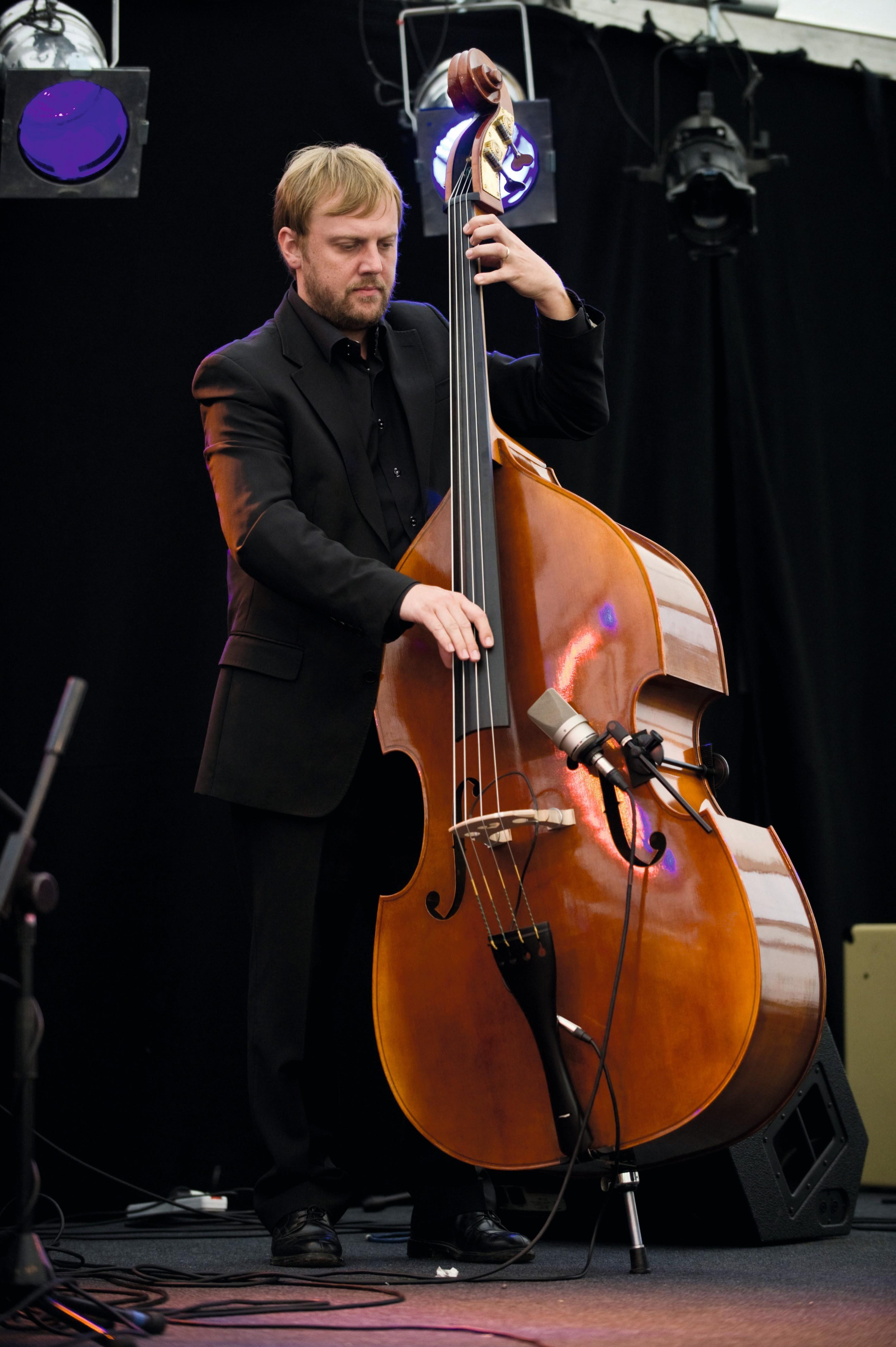 Un joueur de contrebasse