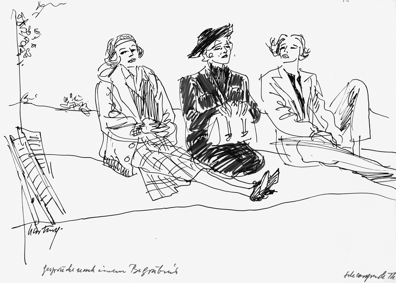 Gerd Hartung, dessin pour la mise en scène de Conversations après un enterrement par Harald Clemen, Schlosspark-Theater, Berlin, 1988