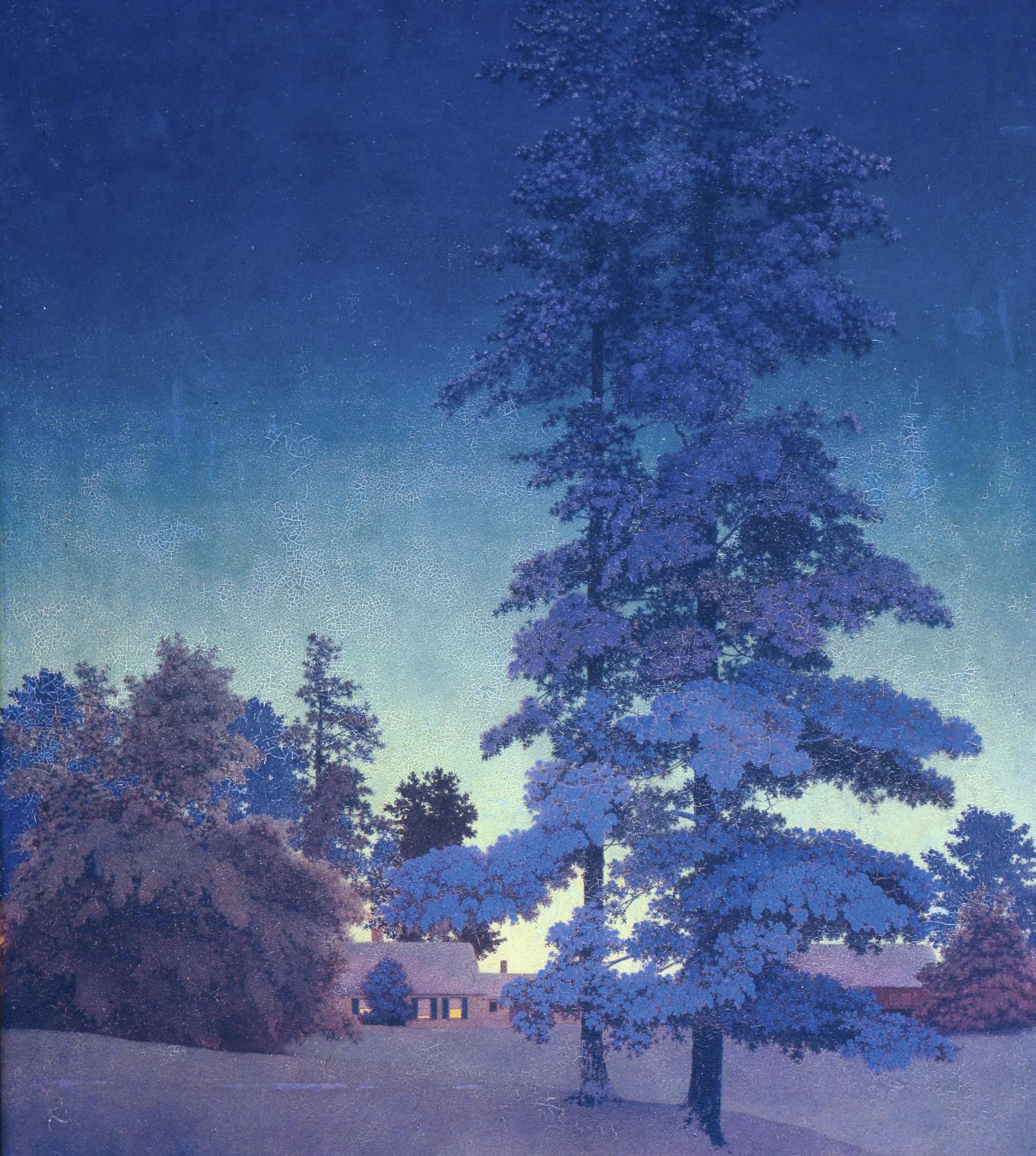 Frederick Maxfield Parrish, Paysage de nuit d'hiver, vers 1956