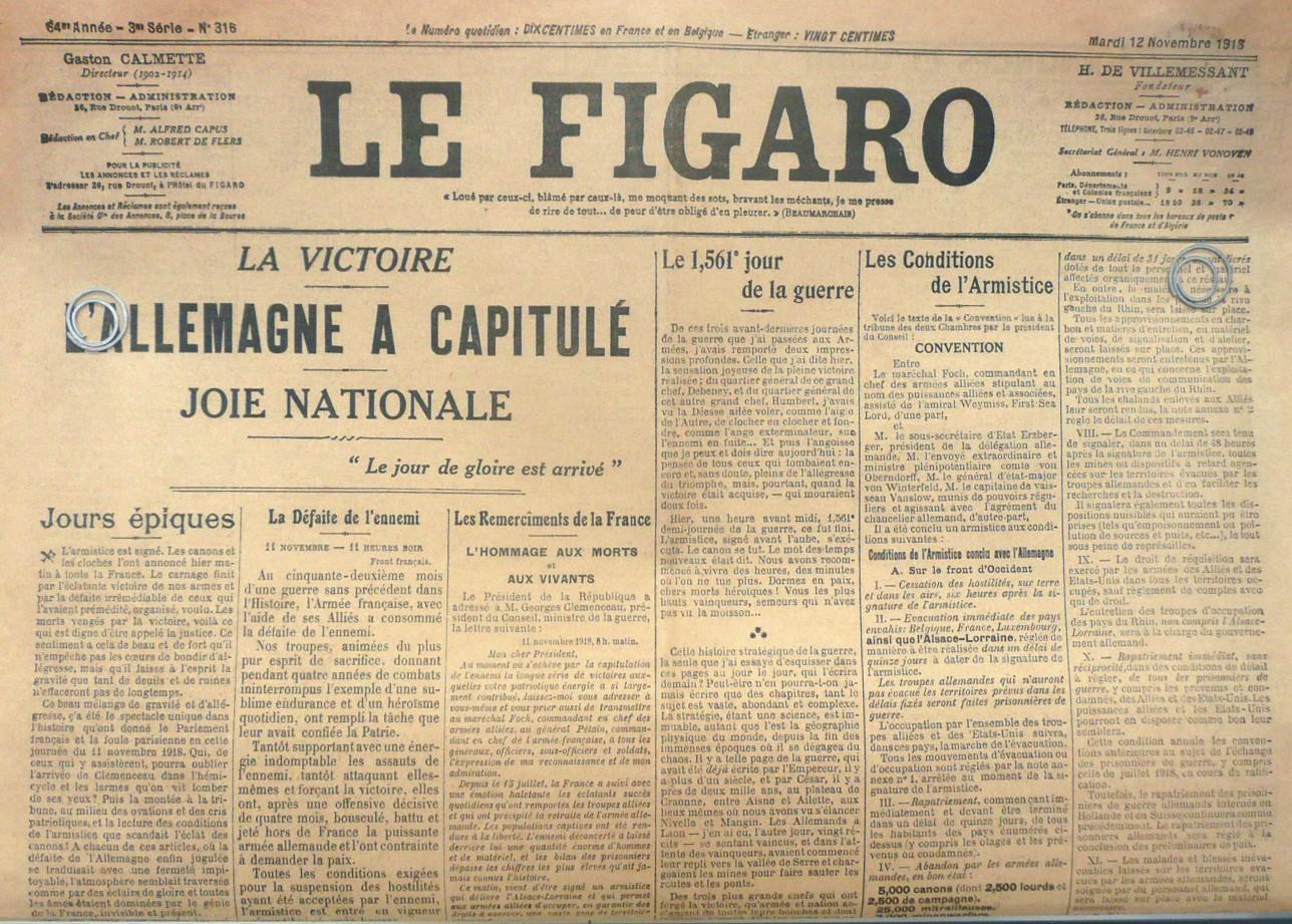 Une du quotidien Le Figaro 12/11/1918