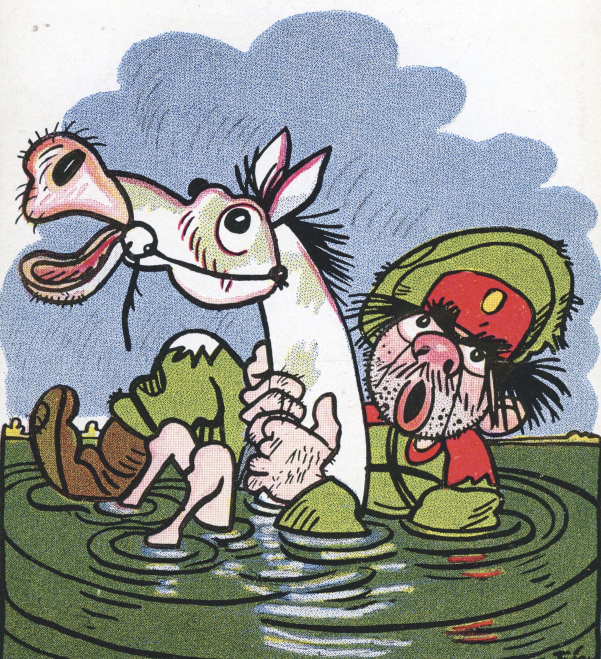 Soldat russe se noyant, carte postale allemande