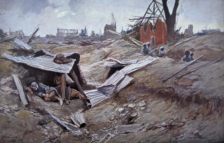 François Flameng, Bataille de la Somme : troupes françaises dans le village détruit de Dompierre