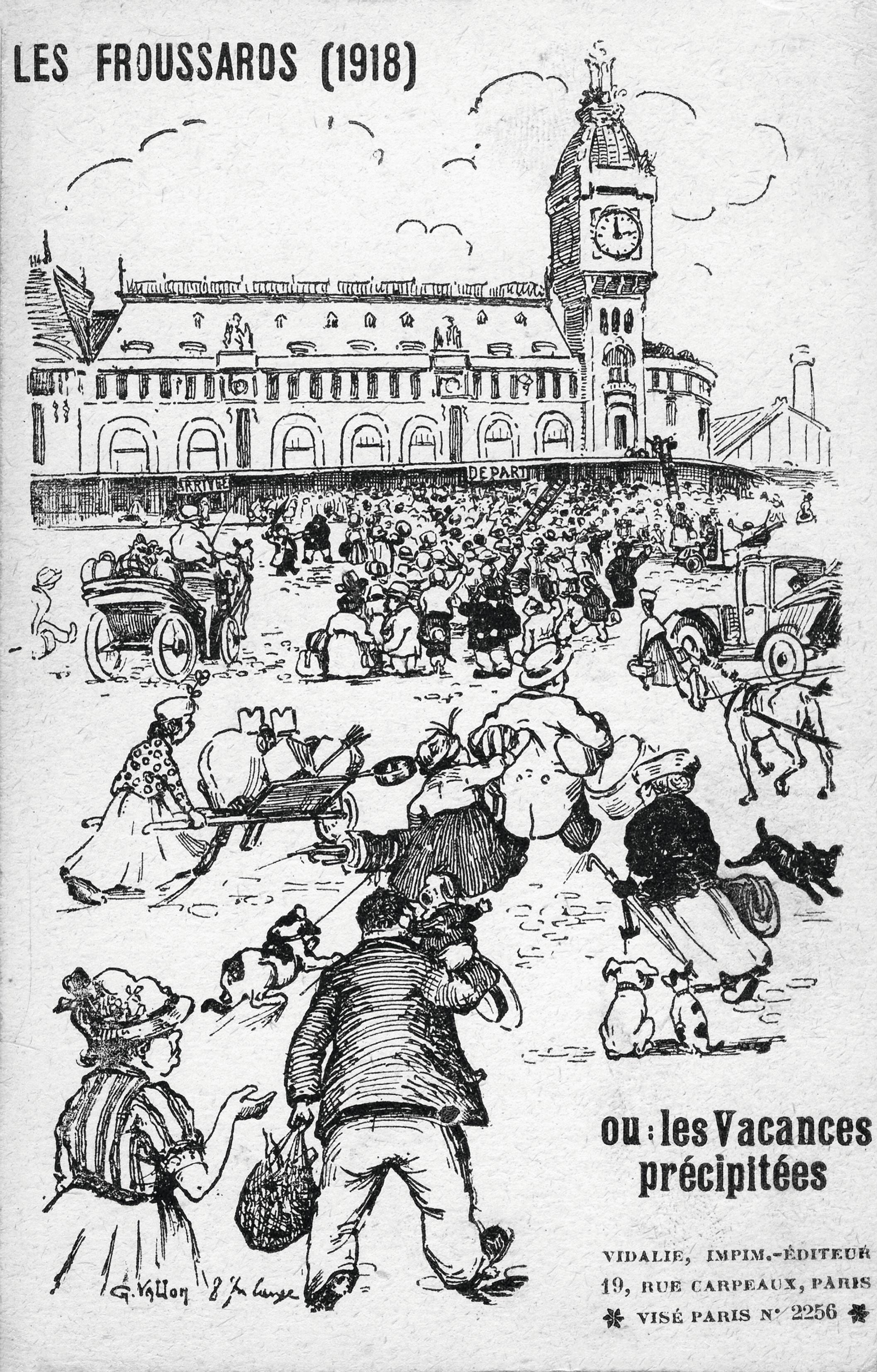 « Les froussards », carte illustrée, 1918, Paris